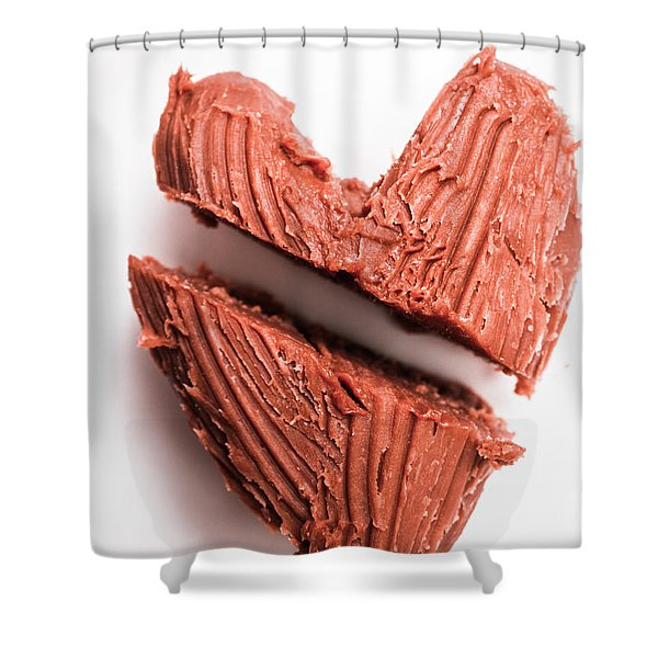 Split Hearts Chocolate Fudge On White Plate Shower Curtain