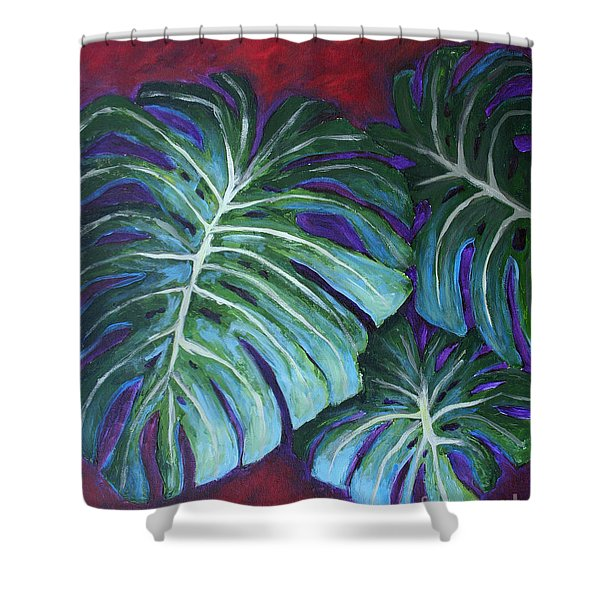 Split Leaf Philodendron Shower Curtain