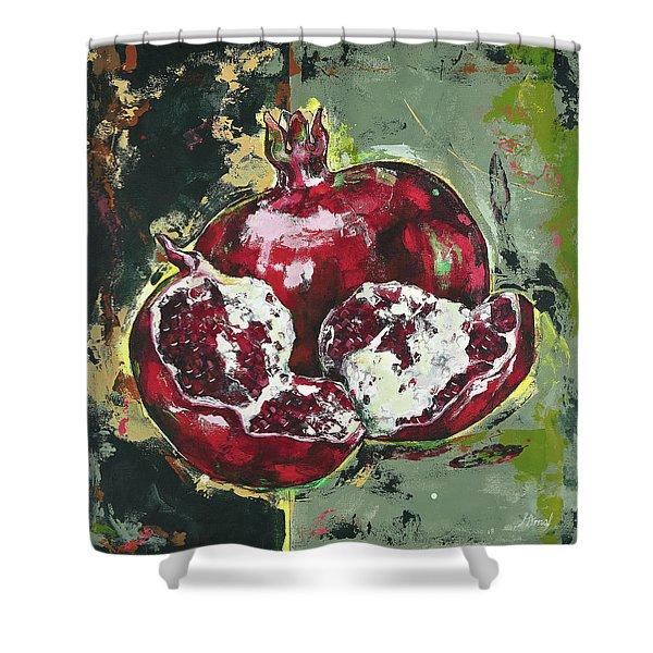 Split Pomegranate Shower Curtain