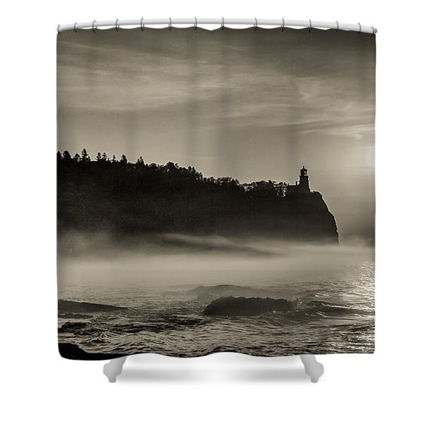 Split Rock Lighthouse Emerging Fog Shower Curtain