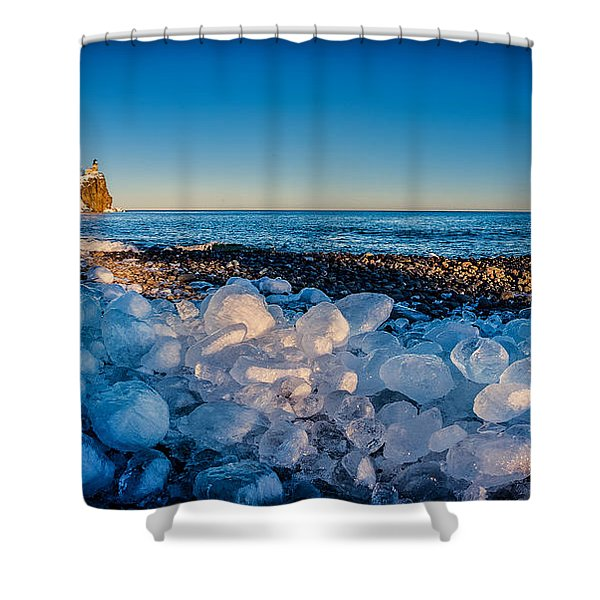 Split Rock Lighthouse With Ice Balls Shower Curtain