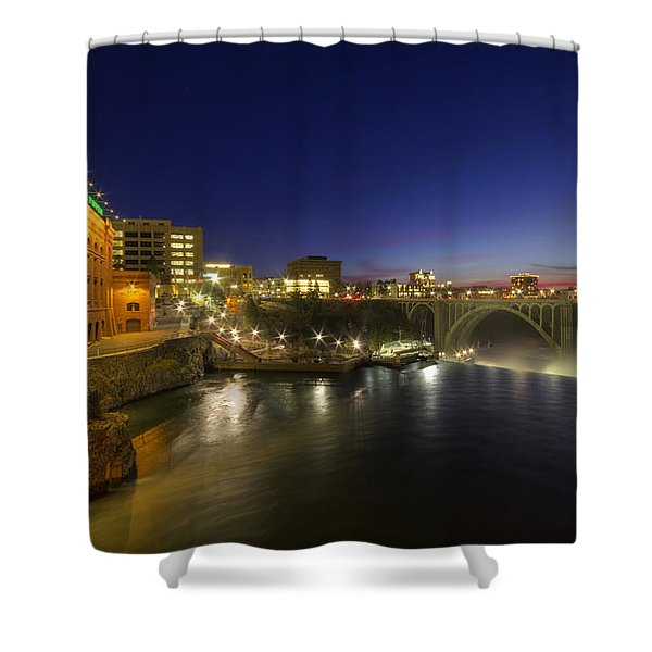 Spokane Falls At Night Shower Curtain