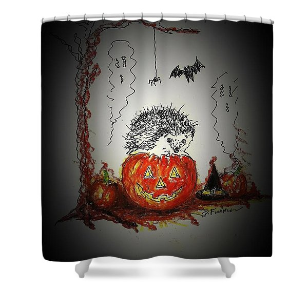 Spooky Hedgehog Halloween Shower Curtain