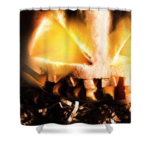 Spooky Jack-o-lantern In Darkness Shower Curtain