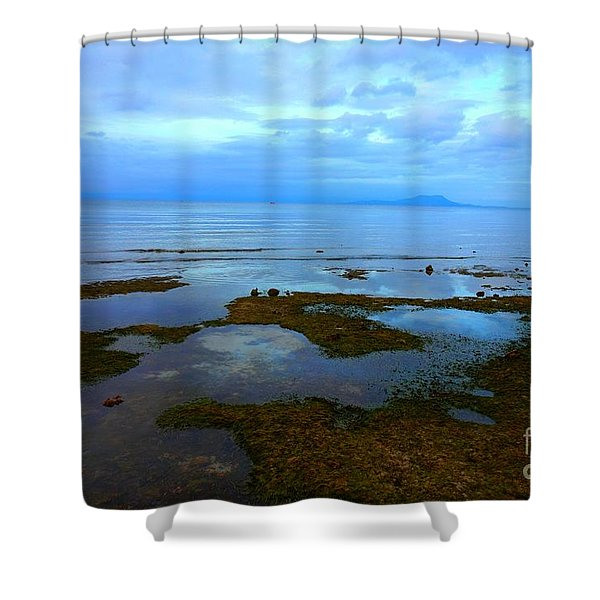Spooky Morning Tide Receded From Beach Shower Curtain