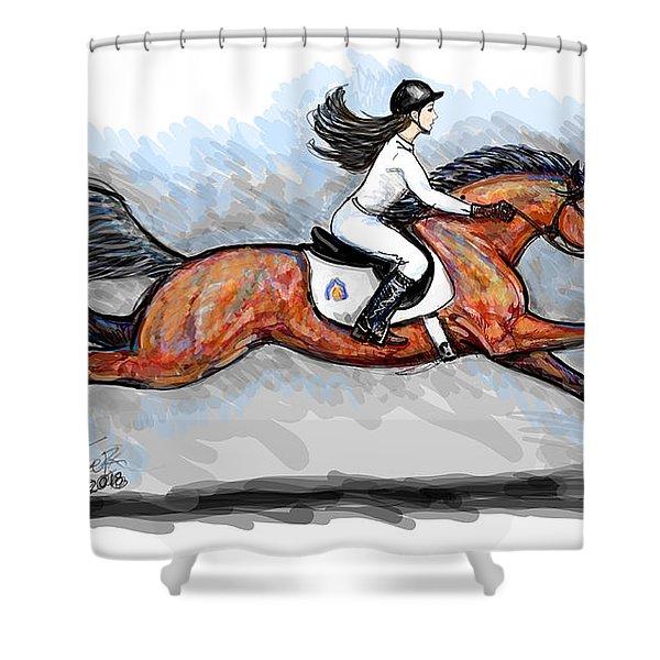 Sport Horse Rider Shower Curtain
