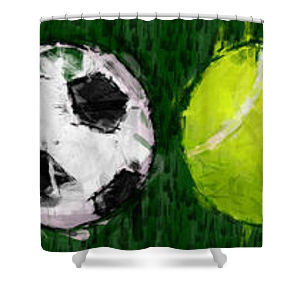 Sports Balls Abstract Shower Curtain by David G Paul