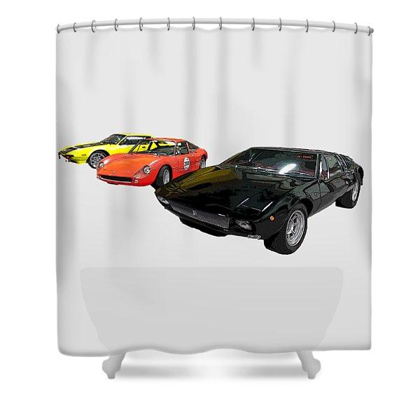 Sports Car In A Row Art Shower Curtain