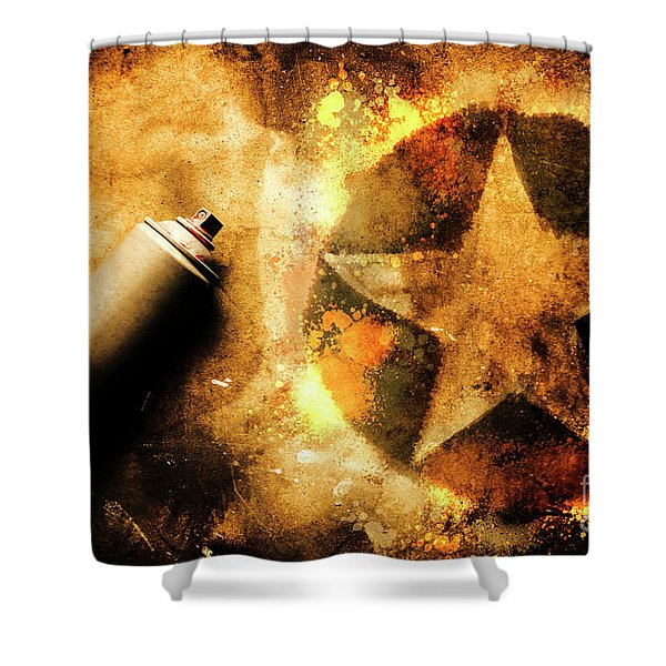 Spray Can With Army Star Graffiti Shower Curtain