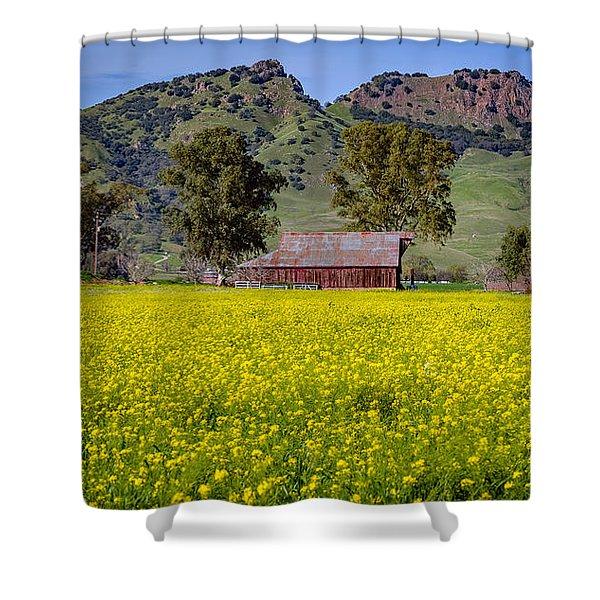Spring Barn Shower Curtain