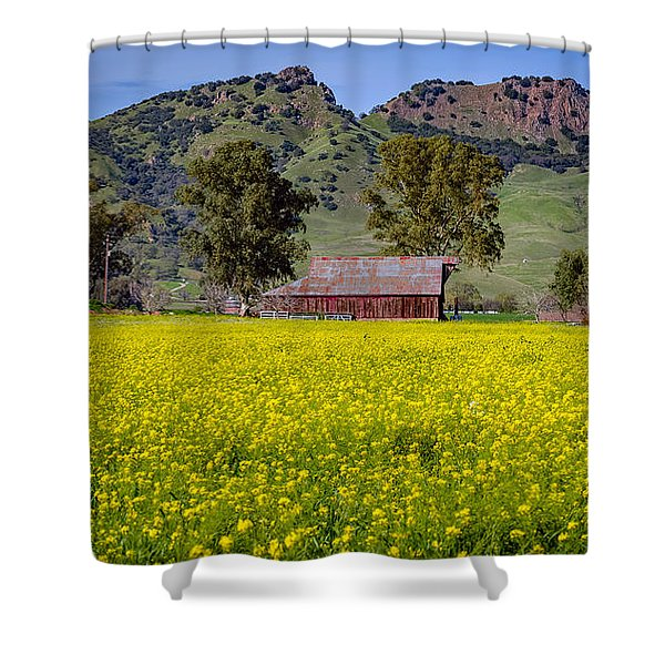 Spring Barn Shower Curtain