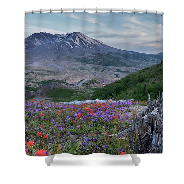 Spring Bloom Mt St Helens Shower Curtain