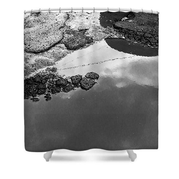 Spring Clouds Puddle Reflection Shower Curtain