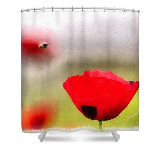 Spring Flowering Poppies Shower Curtain