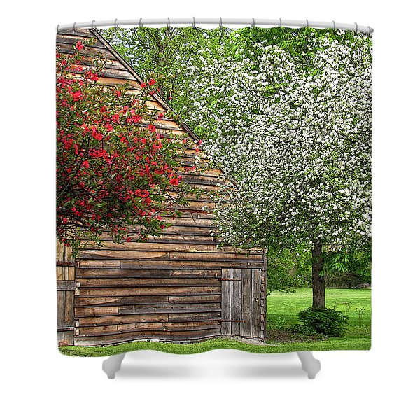 Shower Curtain featuring the photograph Spring Flowers And The Barn by Nancy De Flon