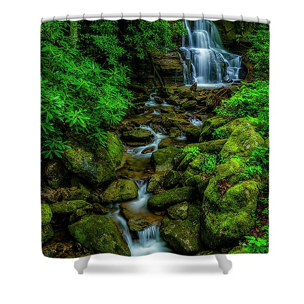 Spring Green Waterfall And Rhododendron Shower Curtain