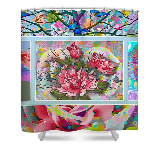 Shower Curtain featuring the digital art Spring Medley by Eleni Mac Synodinos