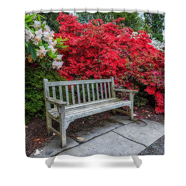 Spring Park Bench Shower Curtain