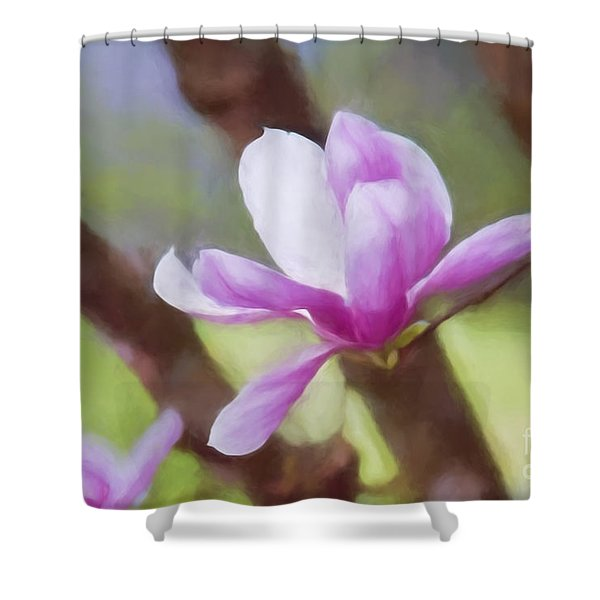Spring Pink Saucer Magnolia Shower Curtain