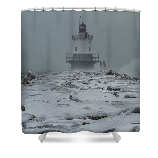 Spring Point Ledge Light Blizzard  Shower Curtain