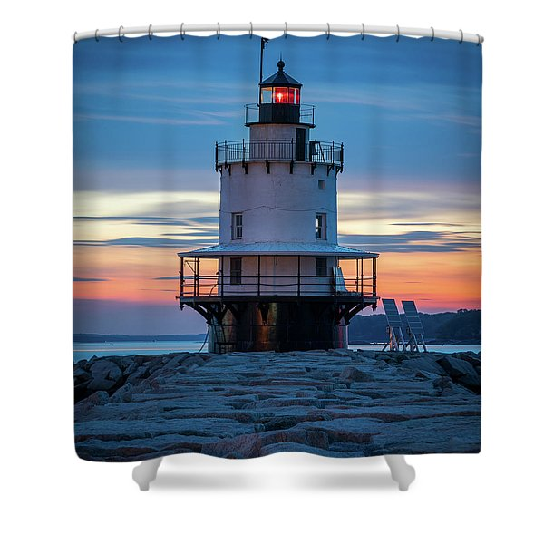 Spring Point Ledge Light Blue Hour II Shower Curtain