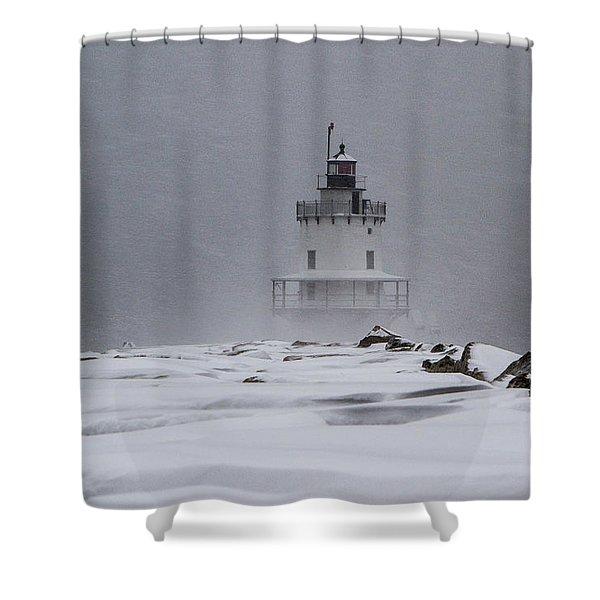 Spring Point Ledge Lighthouse Blizzard Shower Curtain