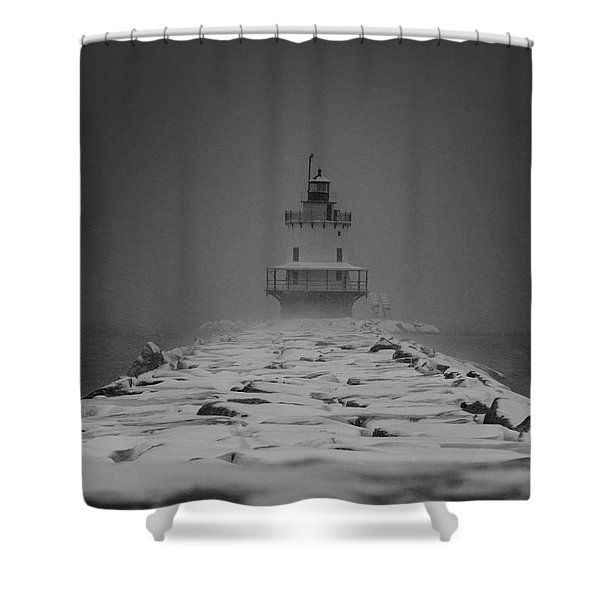 Spring Point Ledge Lighthouse Blizzard In Black N White Shower Curtain