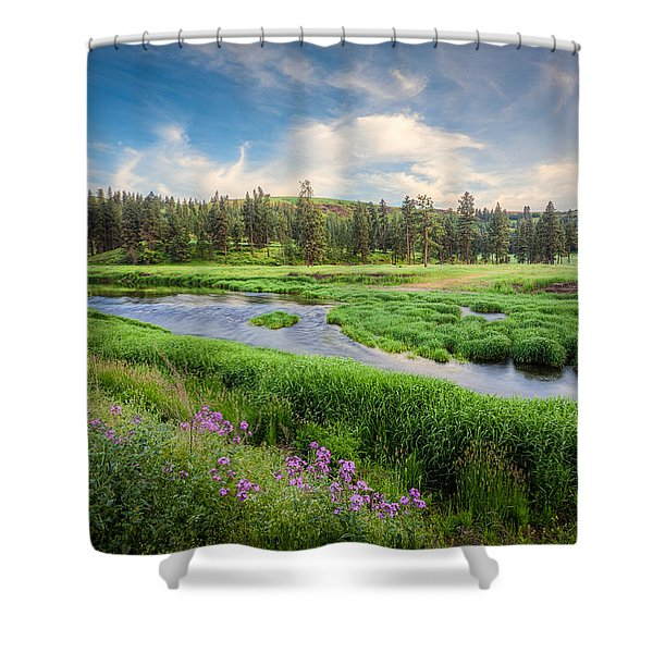 Spring River Valley Shower Curtain