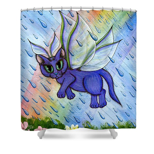 Spring Showers Fairy Cat Shower Curtain