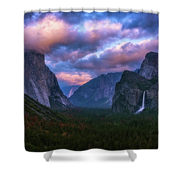 Spring Sunset At Yosemite's Tunnel View Shower Curtain
