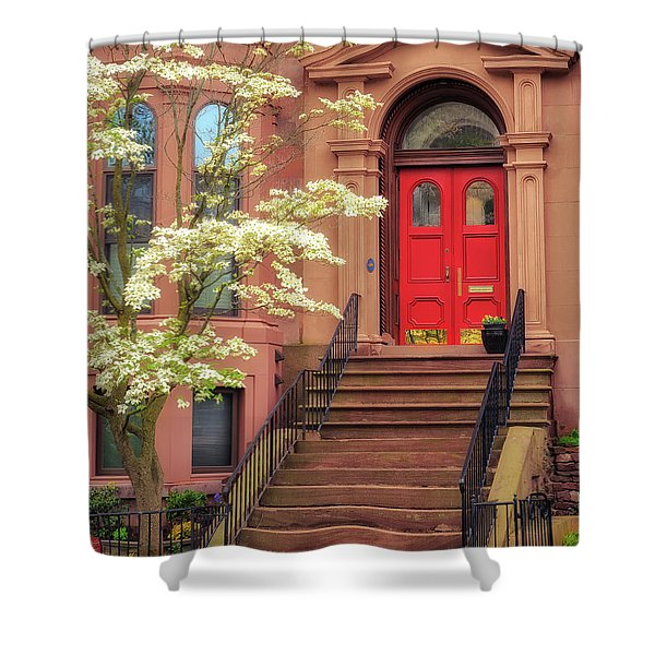 Bushnell Park Brownstone Shower Curtain