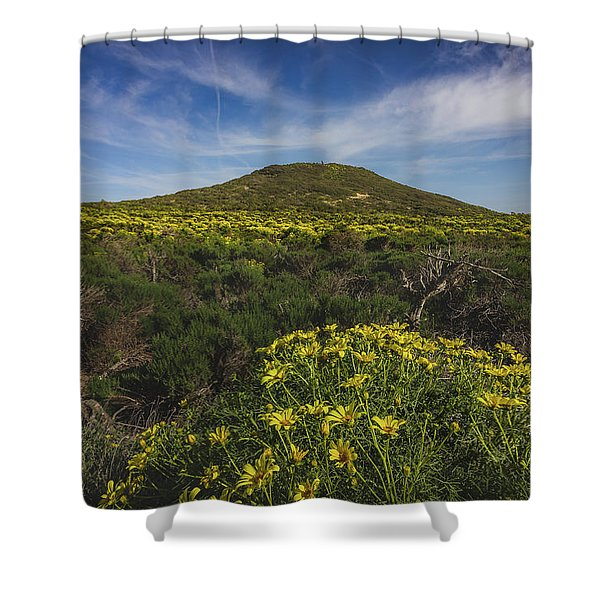 Spring Wildflowers Blooming In Malibu Shower Curtain
