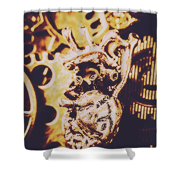 Sprockets And Clockwork Hearts Shower Curtain