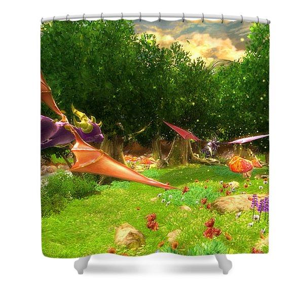 Spyro The Dragon Shower Curtain