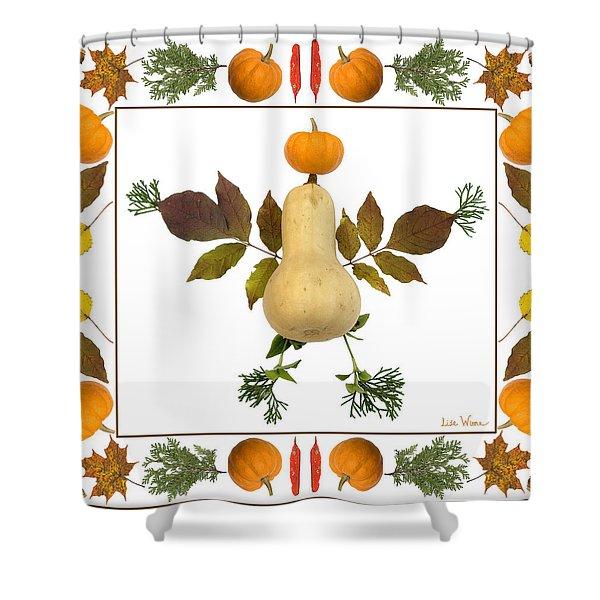 Squash With Pumpkin Head Shower Curtain