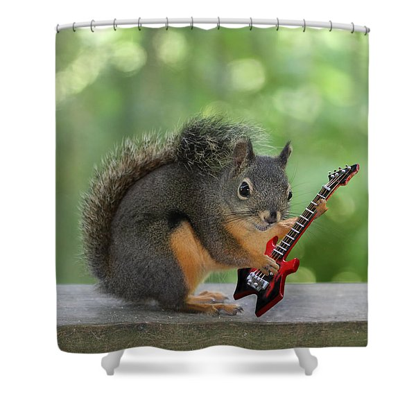 Squirrel Playing Electric Guitar Shower Curtain