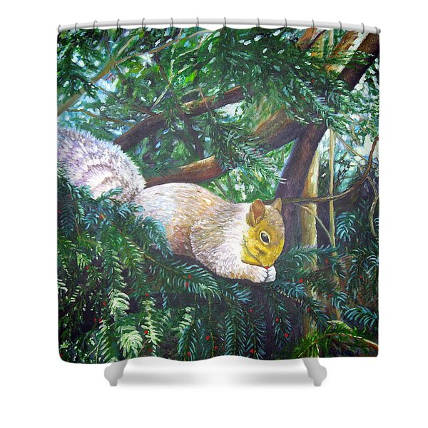 Squirrel Snacking Shower Curtain