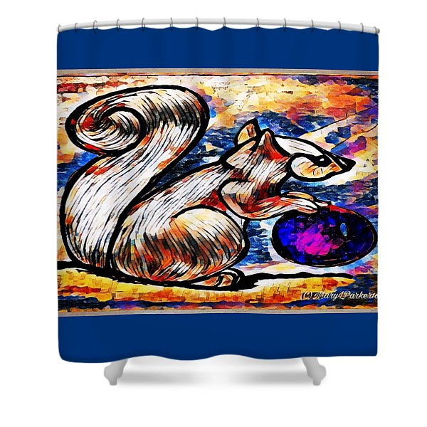 Squirrel With Christmas Ornament Shower Curtain