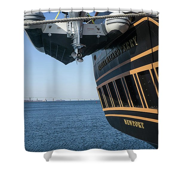 Shower Curtain featuring the photograph Ssv Oliver Hazard Perry Close Up by Nancy De Flon