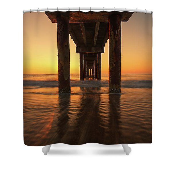 St Augustine Beach Pier Morning Light Shower Curtain