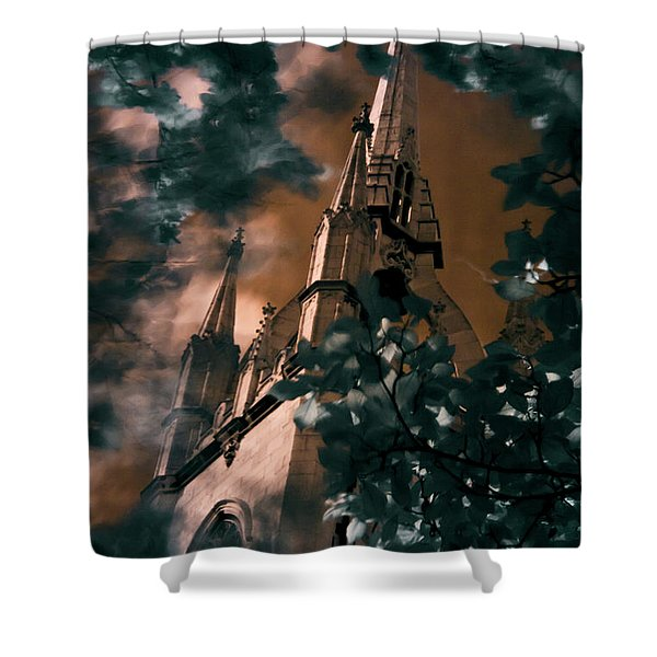 St Dunstan In The East Tower Shower Curtain