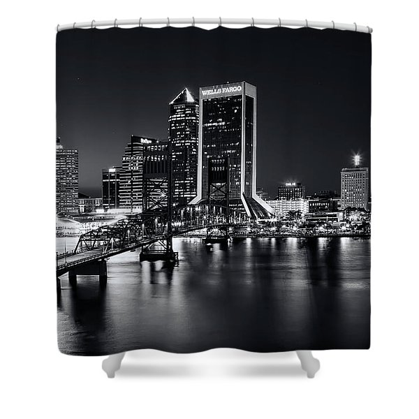 St Johns River Skyline By Night, Jacksonville, Florida In Black And White Shower Curtain