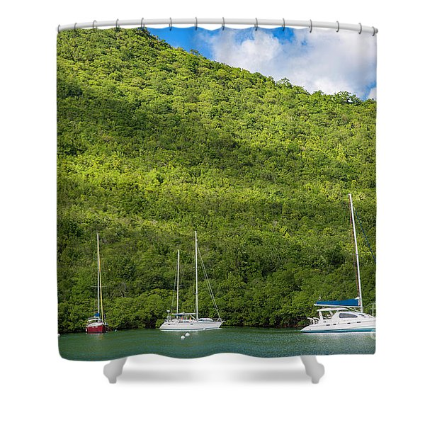 St Lucia Boats Shower Curtain