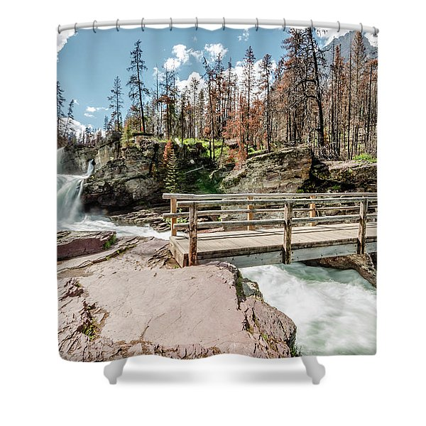 St. Mary Falls With Bridge Shower Curtain