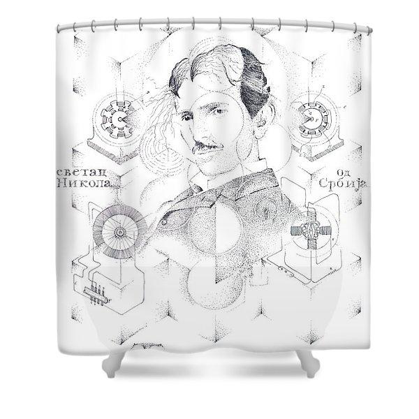 St. Nikola Tesla Of Serbia Sombra De Arreguin Shower Curtain