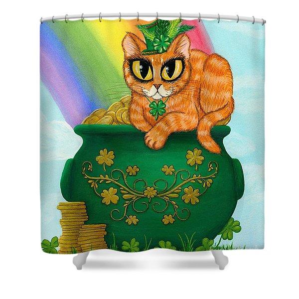 St. Paddy's Day Cat - Orange Tabby Shower Curtain