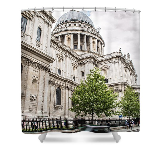 St Pauls Cathedral With Black Taxi Shower Curtain