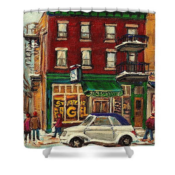 St Viateur Bagel And Mehadrins Deli Shower Curtain