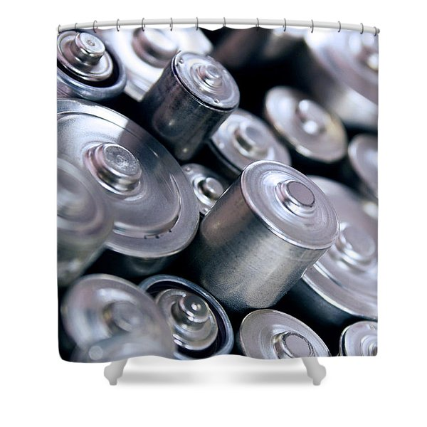Stack Of Batteries Shower Curtain