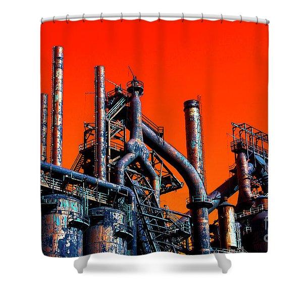 Stacks Of Steel Pop Art In Bethlehem Shower Curtain